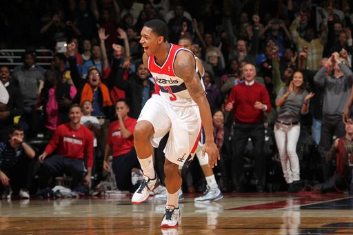 WASHINGTON, DC - JANUARY 7: Bradley Beal #3 of the Washington Wizards celebrates the game winning basket against Kendrick Perkins #5 of the Oklahoma City Thunder at the Verizon Center on January 7, 2013 in Washington, DC. (Photo by Ned Dishman/NBAE via Getty Images)