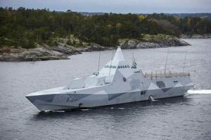 Swedish corvette HMS Visby patrols the Stockholm Archipelago, searching for what the military says is a foreign threat in the waters.