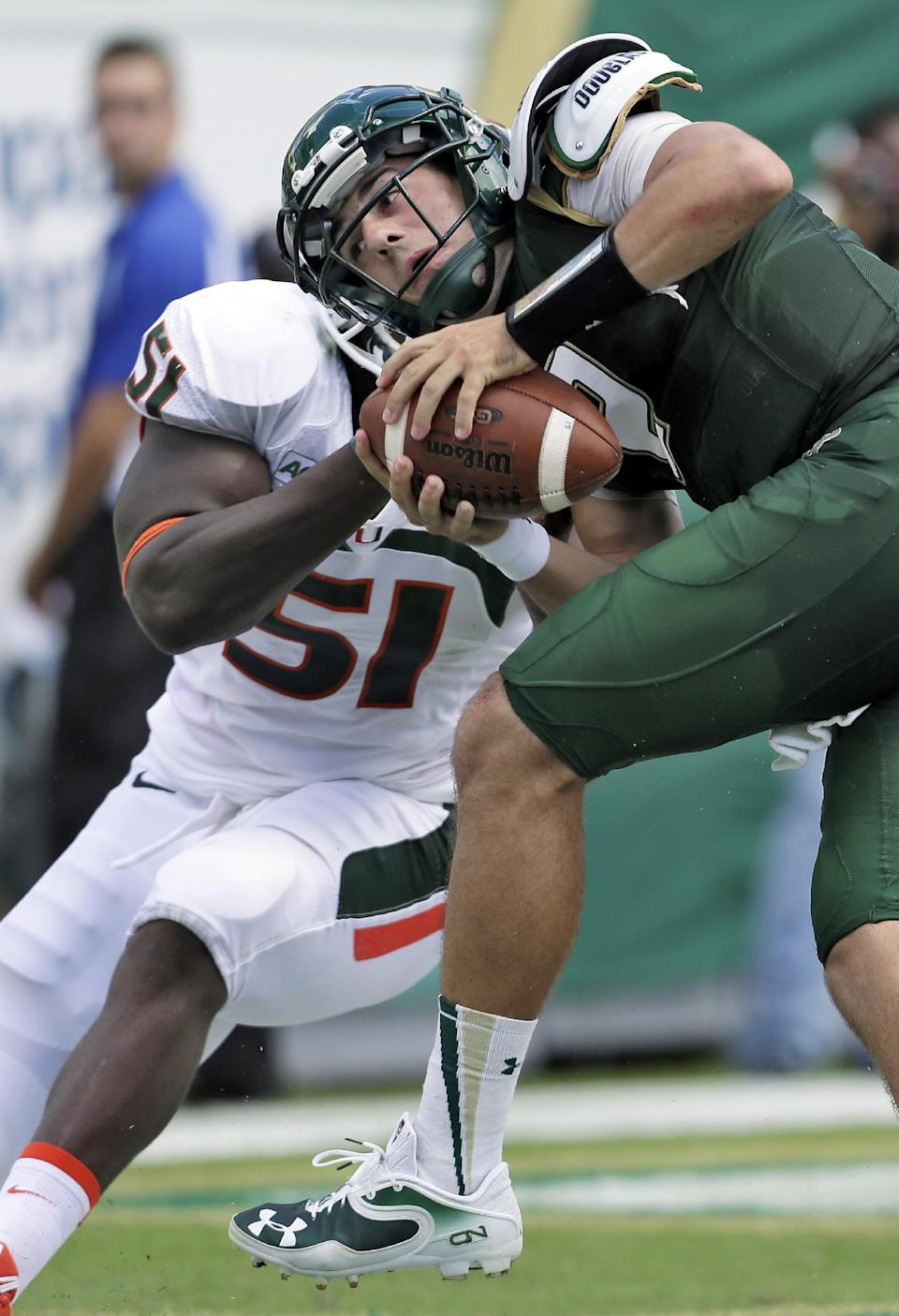 No. 15 Miami routs USF to improve to 4-0