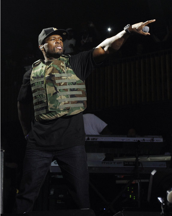 FILE - This March 19, 2012 file image released by Fuse shows rapper 50 Cent, also known as Curtis Jackson, performing during the Fuse Live: Shady 2.0 SXSW concert at the Austin Music Hall in Austin, T
