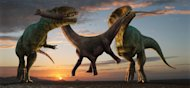 Robert Nicholls captures dinosaur death in all its glory; working together, two <em>Carcharodontosaurus saharicus</em> steal away a juvenile <em>Parilatitan stromeris</em> from its family herd. Living during the Upper Cretaceous, the giant <em>