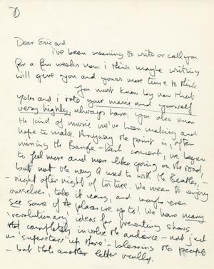This undated photo provided by Profiles in History shows the first page of a handwritten letter from John Lennon to Eric Clapton. The two-page letter is expected to draw $20,000 to $30,000 during an online and phone auction by Profiles in History on Dec. 18, 2012. (AP Photo/Profiles in History)