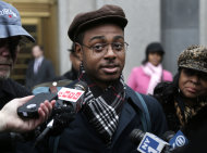 Devin Almonor speaks to members of the media after testifying in a civil trial regarding police stop and frisk tactics in New York, Monday, March 18, 2013. A civil trial that began Monday in federal court in Manhattan will examine the controversial tactic that has become a city flashpoint, with mass demonstrations, City Council hearings and mayoral candidates calling for reform. The lawsuit, now a class-action, seeks a court-appointed monitor to oversee changes to how the police make stops. (AP Photo/Seth Wenig)