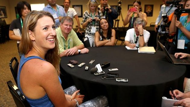 Victoria Azarenka fields questions from the media during the WTA All Access Hour at the BNP Paribas Open at the Indian Wells Tennis Garden (AFP)