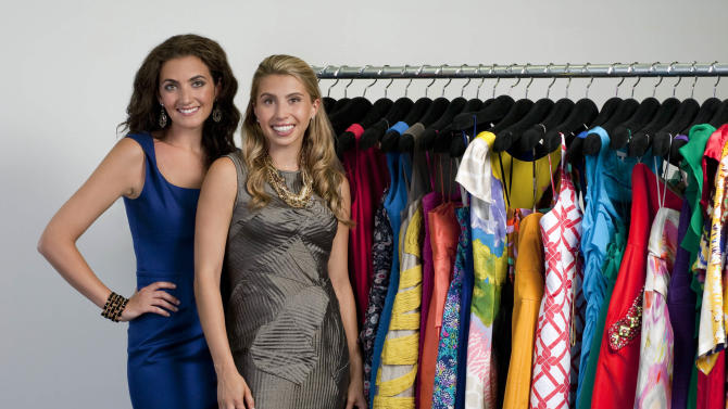 This undated photo released by Rent the Runway shows CEO and co-founder of Rent the Runway, Jennifer Hyman, left, and co-founder Jenny Fleiss in New York. Rent the Runway is an online company that allows consumers to borrow, for a fee, designer clothes and accessories. (AP Photo/Rent the Runway, Philippe Rohdewald)
