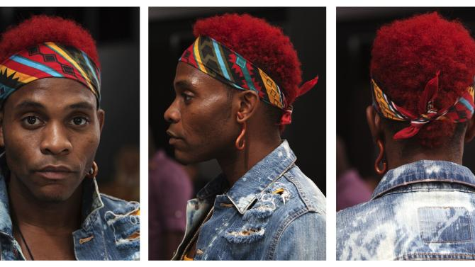 Dapper Afrika, an attendee, poses for a triptych of portraits during New York Fashion Week