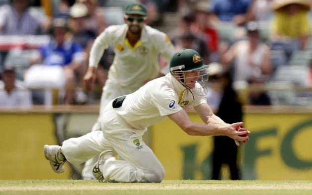 Australia's George Bailey takes the final catch to dismiss England's James Anderson and win the Ashes test cricket series at the WACA ground in Perth