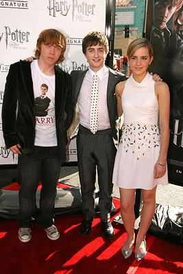 Rupert Grint , Daniel Radcliffe and Emma Watson at the Hollywood premiere of Warner Brothers' Harry Potter and the Order of the Phoenix