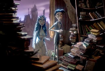 The Corpse Bride (voiced by Helena Bonham Carter ) and Victor Van Dort (voiced by Johnny Depp ) in Warner Bros. Pictures' stop-motion animated film Tim Burton's Corpse Bride
