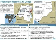 Factfile with map on the conflict in the eastern Democratic Republic of Congo, spearheaded by warlord Bosco Ntaganda