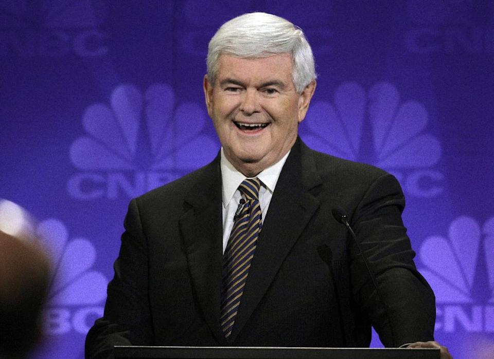 Republican presidential candidate former House Speaker Newt Gingrich speaks during a Republican Presidential Debate at Oakland University in Auburn Hills, Mich., Wednesday, Nov. 9, 2011.  (AP Photo/Paul Sancya)