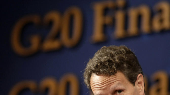 U.S. Treasury Secretary Timothy Geithner listens to questions at a press conference during the G20 Finance Ministers and Central Bank Governors meeting at a hotel in Gyeongju, South Korea, Saturday, Oct. 23, 2010. (AP Photo/Ahn Young-joon)