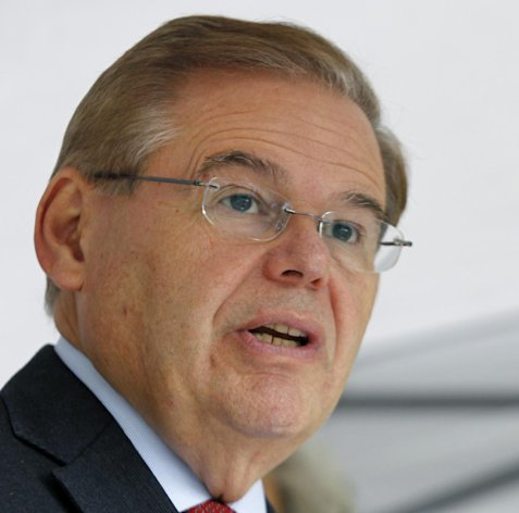 FILE - This Sept. 27, 2012 file photo shows Sen. Robert Menendez, D-N.J. speaking in Sayreville, N.J. Federal immigration agents were prepared to arrest an illegal immigrant and registered sex offender days before the November elections but were ordered by Washington to hold off after officials warned of &quot;significant interest&quot; from Congress and news organizations because the suspect was a volunteer intern for Menendez, according to internal agency documents provided to Congress. (AP Photo/Mel Evans, File)