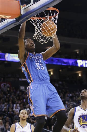 Durant's shot lifts Thunder past Warriors 119-116