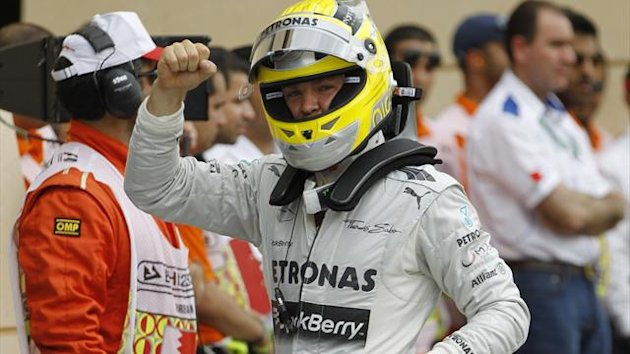 Mercedes Formula One driver Nico Rosberg of Germany celebrates after taking pole position during the qualifying session for the Bahrain F1 Grand Prix at the Sakhir circuit, south of Manama April 20, 2013 (Reuters)