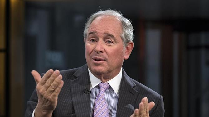 "Schwarzman, Chairman and CEO of The Blackstone Group, speaks during an interview with Bartiromo, on her Fox Business Network show; ""Opening Bell with Maria Bartiromo"" in New York"