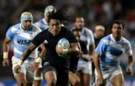New Zealand's All Blacks centre Ma'a Nonu runs followed by Argentina's Los Pumas players during their Rugby Championship fifth round match, at La Plata stadium in La Plata, Argentina, on September 29. All Blacks crushed Argentina 54-15