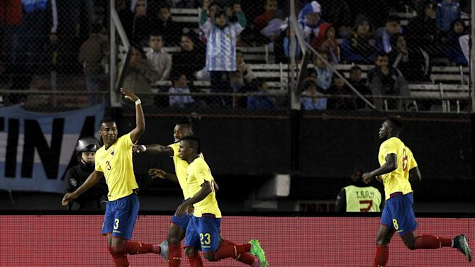 Ecuador's Frickson Erazo celebrates after scoring a goal during their 2018 World Cup qualifying soccer match against Argentina at the Antonio Vespucio Liberti stadium in Buenos Aires