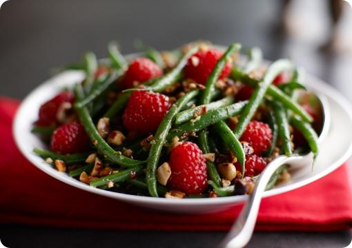 Green Beans and Raspberry Hazelnut Toss