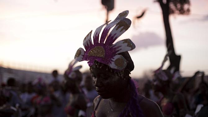 A reveller takes part in the Carnival 2016 parade in Port-au-Prince, Haiti