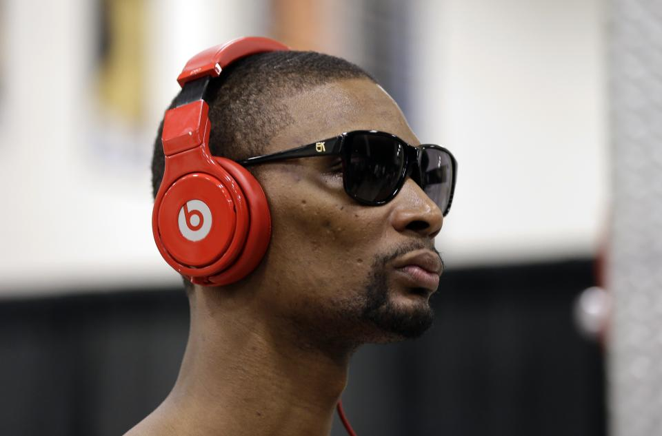 Miami Heat's Chris Bosh arrives for a team practice, Wednesday, June 12, 2013, in San Antonio. Miami will face the San Antonio Spurs in game 4 of the NBA Finals basketball game Thursday. San Antonio leads the best-of-seven series 2-1. (AP Photo/Eric Gay)