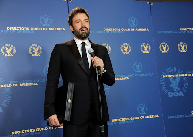 Ben Affleck speaks holding his award for outstanding directorial achievement in feature film for &quot;Argo&quot; at the 65th Annual Directors Guild of America Awards at the Ray Dolby Ballroom on Saturday, Feb. 2, 2013, in Los Angeles. (Photo by Chris Pizzello/Invision/AP)