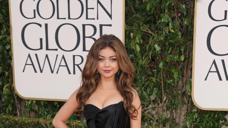 Actress Sarah Hyland arrives at the 70th Annual Golden Globe Awards at the Beverly Hilton Hotel on Sunday Jan. 13, 2013, in Beverly Hills, Calif. (Photo by Jordan Strauss/Invision/AP)