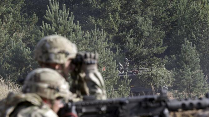"""Danish troops take part in live fire exercise in a tactical environment ahead of """"Silver Arrow"""" drill in Adazi training field"""