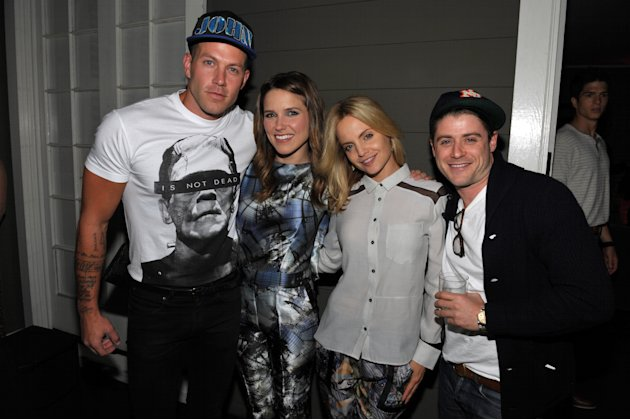 EXCLUSIVE CONTENT - From left, Johnny Wujek, Sophia Bush, Mena Suvari and Jon Abrahams attend Clearly Chateau at The Chateau Marmont on Thursday, May 24, 2013, in West Hollywood, Calif. (Photo by John