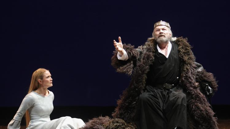 "Brandauer performs as Lear and Knof as Cordelia during a dress rehearsal of ""King Lear"" at Burgtheater theatre in Vienna"