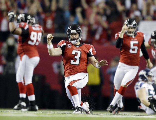 Atlanta Falcons kicker Matt Bryant (3) reacts to his game winning field goal against the Seattle Seahawks during the second half of an NFC divisional playoff NFL football game Sunday, Jan. 13, 2013, i