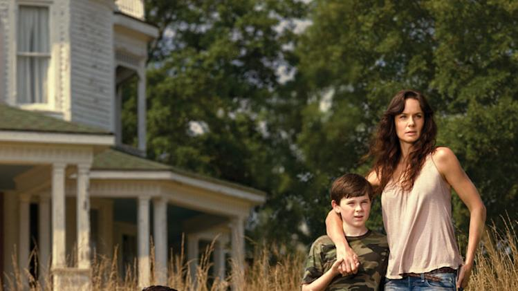 "Andrew Lincoln as Rick Grimes, Chandler Riggs as Carl Grimes and Sarah Wayne Callies as Lori Grimes on ""The Walking Dead."""