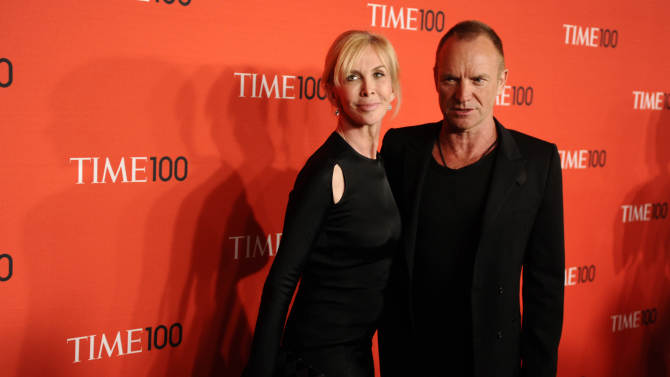 "FILE - Musician Sting and his wife Trudie Styler attend the Time 100 Gala, celebrating the 100 most influential people in the world, on in this April 26, 2011 file photo, in New York. Sting moved the location of his ""Back to Bass Tour"" concert Saturday Oct. 20, 2012 in the Philippines following a petition by environmentalists who said the original venue is owned by a conglomerate that plans to uproot 182 trees for a parking lot and mall expansion in a northern mountain city. Sting and his wife established The Rainforest Foundation to protect tropical rainforests and their people.(AP Photo/Peter Kramer, FILE)"