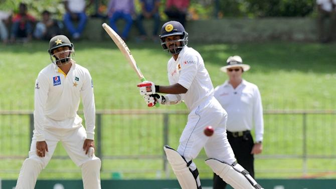 Sri Lanka's Upul Tharanga plays a shot during the third day of the third and final Test match against Pakistan at the Pallekele International Cricket Stadium in Pallekele on July 5, 2015