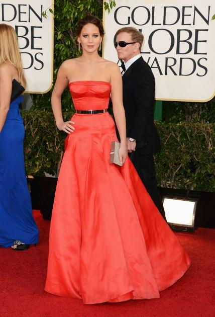 Jennifer Lawrence arrives at the 70th Annual Golden Globe Awards held at The Beverly Hilton Hotel on January 13, 2013 in Beverly Hills -- Getty Premium