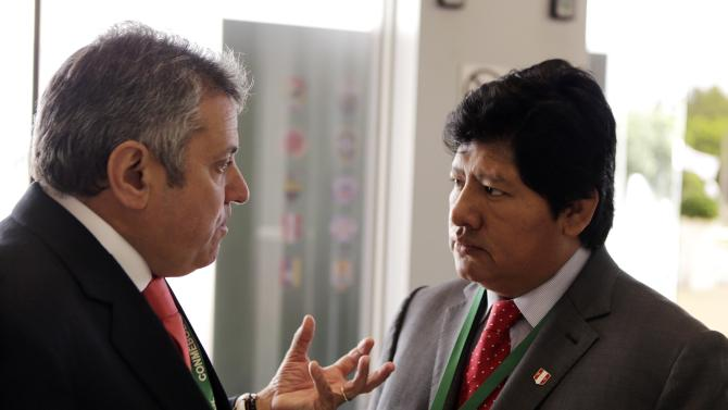 President of the Uruguay Football Association Valdez and President of the Peru Football Association Oviedo are pictured at the CONMEBOL ordinary congress in Luque
