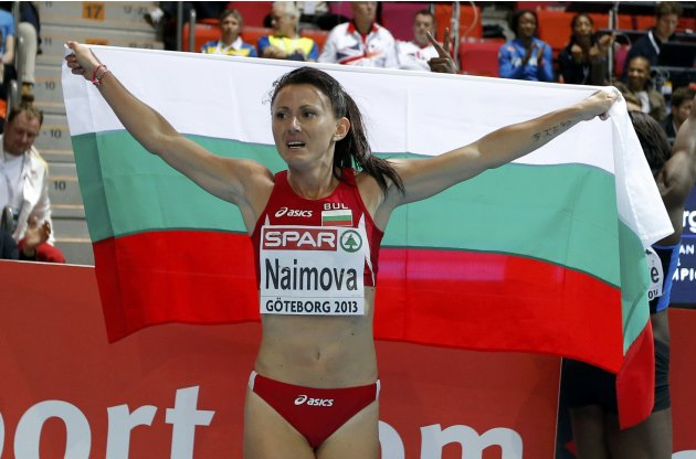 Naimova of Bulgaria celebrates as she won the women's 60m event during the European Athletics Indoor Championships in Gothenburg
