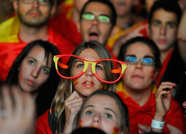 Spain Fans Watch The UEFA EURO 2012 Final Match Against Italy