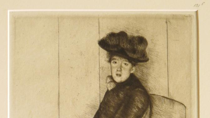 "In this undated photo released by the New York Public Library, print entitled ""reflection,"" by American Artist Mary Cassatt is shown. Eighty-eight examples of Cassatt's work as a printmaker will be on display at the New York Public Library starting Friday, March, 8, 2013, in an exhibit entitled ""Daring Methods: The Prints of Mary Cassatt."" (AP Photo/New York Public Library, Mary Cassatt)"
