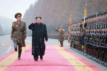 KCNA picture shows North Korean leader Kim Jong Un saluting during a visit to the Ministry of the People's Armed Forces on the occasion of the new year