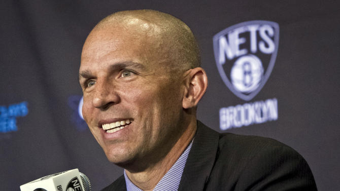Brooklyn Nets new head coach Jason Kidd smiles as he is introduced during an NBA basketball news conference Thursday, June 13, 2013, in New York. (AP Photo/Bebeto Matthews)