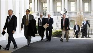 Health insurance chief executives arrive at the White…