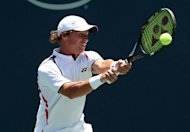 Lithuania's Ricardas Berankis hits a return to Australia's Marinko Matosevic during their Los Angeles Open semi-final on July 28. Berankis clinched his record-setting victory on the second of three match points, ending with 18 winners and four breaks of his Australian opponent