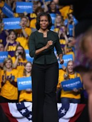 First lady Michelle Obama arrives for a rally at the McLeod Center on the campus of the University of Northern Iowa (UNI), on September 28, in Cedar Falls, Iowa