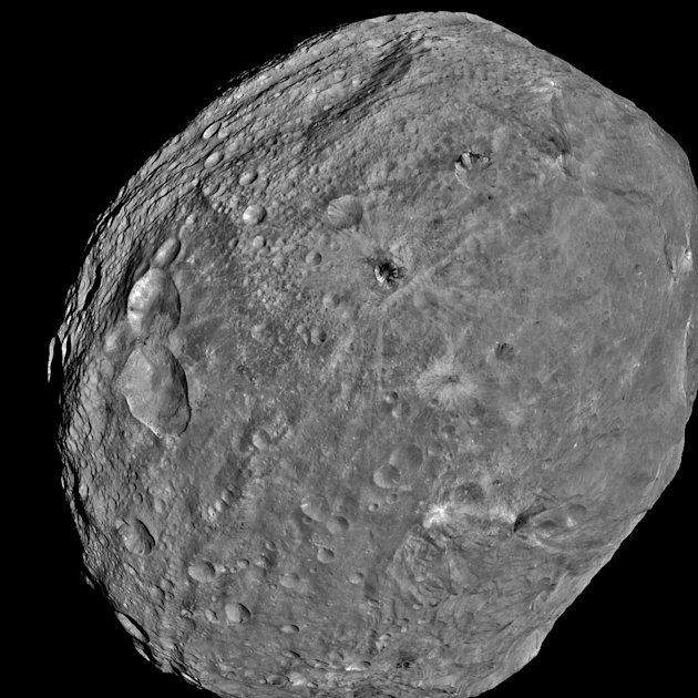 This July 24, 2011 image of the Asteroid Vesta, released by NASA/JPL, was captured by the Dawn spacecraft at a distance of 3,200 miles 5,200 kilometers.  Dawn entered orbit around Vesta on July 15,