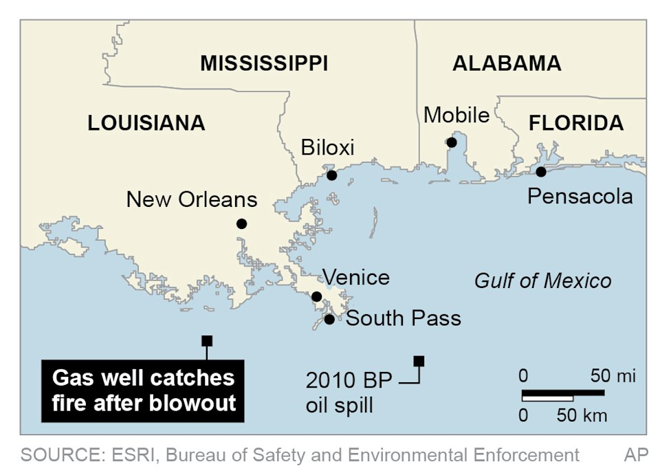 Map locates gas well accident in the Gulf of Mexico; 2c x 2 1/2 inches; 96.3 mm x 63 mm;