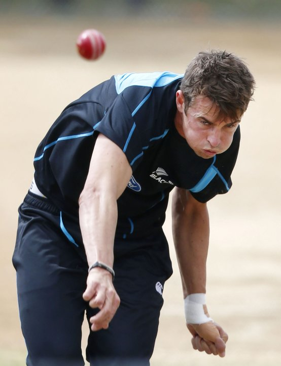 New Zealand's Southee bowls at training ahead of the final cricket test against England