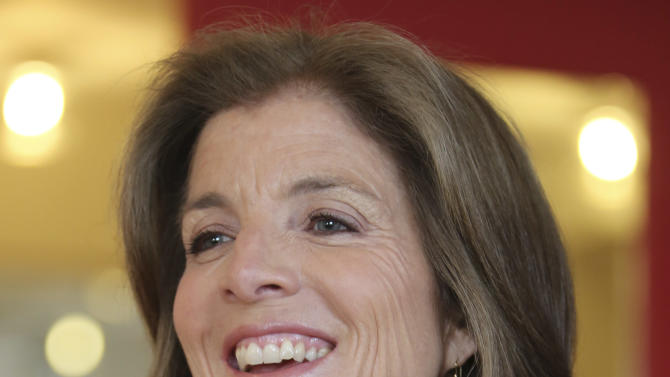 In this Tuesday, March 26, 2013 photo, Caroline Kennedy smiles during an interview with The Associated Press in New York. Kennedy's 10th and latest book extols the value of learning poems by heart. (AP Photo/Mary Altaffer)