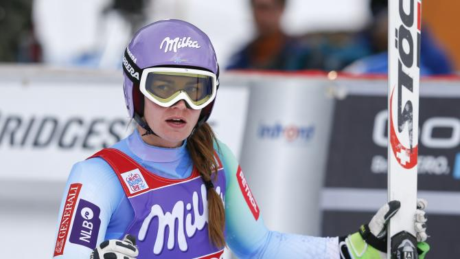 Tina Maze of Slovenia looks on after the first training session for the Women's World Cup Downhill skiing race in Val d'Isere