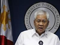 Philippine Foreign Secretary Del Rosario delivers a statement during a news conference in Manila